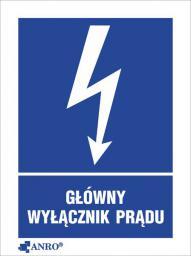 ANRO Tabliczka ostrzegawcza Główny wyłącznik prądu 148 x 210mm (20EIA/Q4/F)