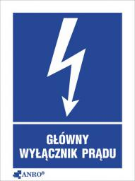 ANRO Tabliczka ostrzegawcza Główny wyłącznik prądu 52 x 74mm (20EIA/Q1/F)