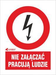ANRO Tabliczka ostrzegawcza Nie załączać pracują ludzie 52 x 74mm (2EZA/Q1/F)