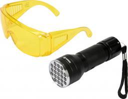 Vorel Latarka UV 21 LED 3 x 1,5V + okulary (82756)