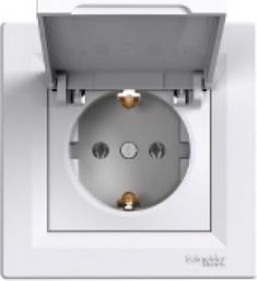 Schneider Electric Gniazdo instalacyjne Asfora pojedyncze z klapką białe (EPH3100121)