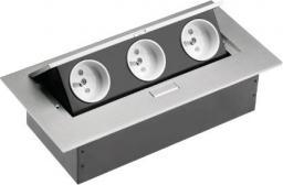 GTV Przedłużacz biurkowy 3 gniazda aluminium 223 x 108mm (AE-PB03GU-53)