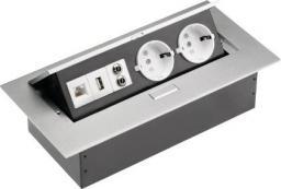 GTV Przedłużacz biurkowy 2 x SCHUKO wejście USB audio in / out miniJack RJ45 aluminium 220 x 107mm (AE-PB02GS-53)
