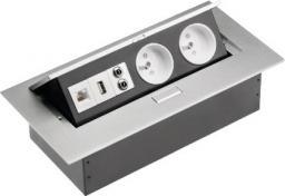 GTV Przedłużacz biurkowy 2 gniazda wejście USB audio in / out miniJack RJ45 aluminium 220 x 107mm (AE-PB02GU-53)