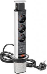 GTV Biurkowy przedłużacz wpuszczany 60mm srebrny 3 x SCHUKO 2 x USB 2,1A 5V 1,5m (AE-BPW3S60U-80)