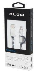Adapter USB Blow USB - 30pin, Lightning, microUSB Czarno-biały (66-099#)