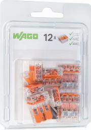 WAGO Złączka uniwersalna 3x4mm2 przezroczysto pomarańczowa z dźwigniami blister 12szt. (221-0413/0996-0012)