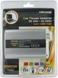 Przetwornica Whitenergy Przetwornica samochodowa DC 24V-AC 230V 350W z USB (06580)