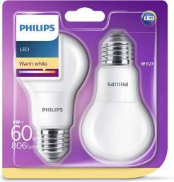 Philips Żarówka LED 8W (60W) E27 2 sztuki (929001234361)