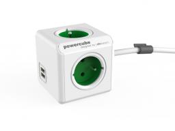 PowerCube Kabel sieciowy 230V przedłużacz, (widelec), 1.5m, EXTENDED USB, zielony, 4 gniazdka, 2xUSB
