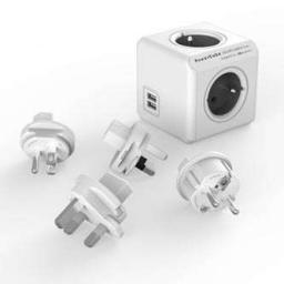 PowerCube Rozgałęźnik ReWirable USB + 4 wtyczki Travel Plugs szary