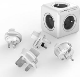 PowerCube Rozgałęźnik ReWirable + 4 wtyczki Travel Plugs szary