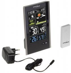 Stacja pogodowa GreenBlue Stacja pogody bezprzewodowa czarna DCF, ciśnienie, fazy księżyca, ładowarka USB - GB520