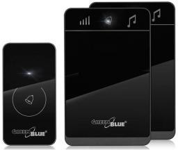 GreenBlue Dzwonek bezprzewodowy nadajnik-2 odbiorniki, 52 melodie czarny GreenBlue GB112 dotykowy, zasięg 150m - GB112