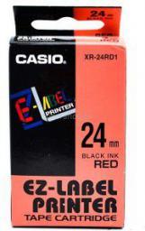 Casio Taśma do drukarek etykiet czarny druk / czerwony podkład nielaminowane 6mm x 8m (XR-6RD1)