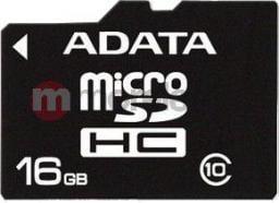 Karta MicroSD ADATA 16GB Class 10 + Adapter (AUSDH16GCL10-RA1)
