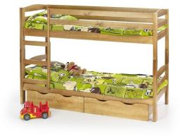Halmar SAM - łóżko piętrowe z materacami - sosna