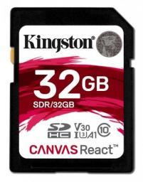Karta pamięci Kingston SD 32GB Canvas React 100/70MB/s U3 UHS-I V30 A1 (SDR/32GB)
