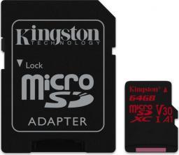Karta MicroSD Kingston Canvas React 64GB UHS-I U3 V30 + adapter (SDCR/64GB)