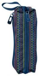 Piórnik Paso Piórnik trzykomorowy granatowy kolorowe szlaczki (275538)