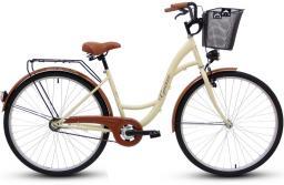 Goetze Rower miejski ECO Koło 28 + Kosz metal krem