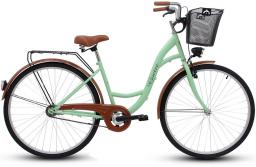 Goetze Rower miejski ECO 28'' pistacjowy z metalowym koszem