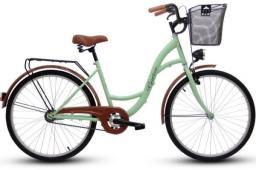 Goetze Rower miejski ECO 26'' pistacjowy z metalowym koszem