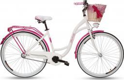 Goetze Rower miejski Blueberry 28'' biało-różowy z metalowym koszem