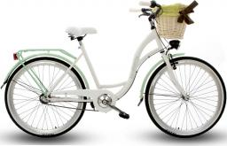 Goetze Rower miejski Blueberry 26″ trzybiegowy biało-zielony z metalowym koszem