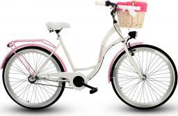 Goetze Rower miejski Blueberry 26″ trzybiegowy biało-różowy z metalowym koszem