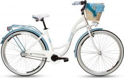 Goetze Rower miejski Blueberry 28″ trzybiegowy biało-niebieski z metalowym koszem