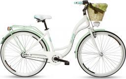 Goetze Rower miejski Blueberry 28″ trzybiegowy biało-zielony z metalowym koszem