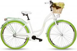 Goetze Rower miejski COLOURS 28'' biały z wiklinowym koszem