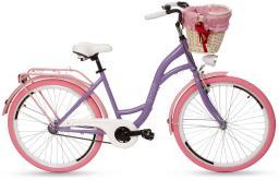 Goetze Rower miejski COLOURS 26'' fioletowy z wiklinowym koszem