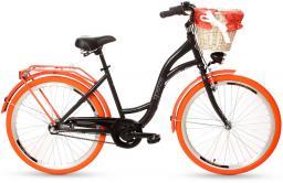 Goetze Rower  COLOURS 26 - 3  BIEGI Kosz wiklina  + Wkładka czarny pomarańcz opona