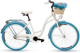 Goetze Rower COLOURS 26 - 1 BIEG Kosz wiklina + Wkładka biały niebieska opona