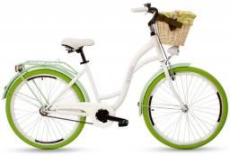 Goetze Rower miejski COLOURS 26'' biały z koszem wiklinowym