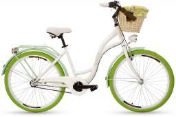 Goetze Rower COLOURS 26 - 3  BIEGI Kosz wiklina + Wkładka biały zielona opona