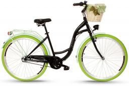 Goetze Rower COLOURS 28 - 3  BIEGI Kosz wiklina + Wkładka czarny zielona opona