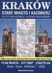 Kraków Stare Miasto I Kazimierz Plan Miasta 1:4 000