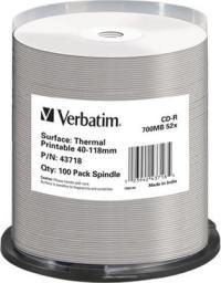 Verbatim CD-R 52x Cake 100 szt AZO Thermal Nadruk 43718