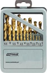 Wiertło do metalu AWTools tytanowe walcowe 1,5 2 7 4,5 4 5,5 5 1 3 2,5 3,5 6 10 10,5 11 11,5 12 12,5 13 6,5 7,5 8 8,5 9 9,5mm zestaw (AW42325)