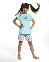 Cornette Piżama dziewczęca Blogger Girl turkusowo-szara r. 110/116