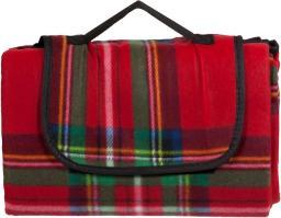 ROYOCAMP Koc piknikowy czerwony w kratę 200x150cm