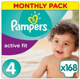Pampers Active Fit 4 Maxi Na Miesiąc 168 szt.