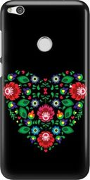 FunnyCase Etui Nadruk Kwiaty Serce Czarny Huawei P8 P9 Lite 2017