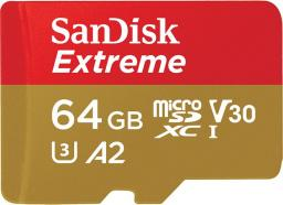 Karta MicroSD SanDisk Extreme XC 64GB, 160MB/s, C10 UHS-I U3, V30, A2 +, SD ADAP. + Rescue Pro Deluxe (SDSQXA2-064G-GN6MA)