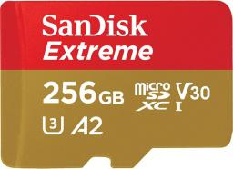 Karta MicroSD SanDisk Extreme XC 256GB, 160MB/s C10 UHS-I U5, V30, A2 + SD ADAP. + Rescue Pro Deluxe (SDSQXA1-256G-GN6MA)
