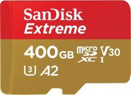 Karta MicroSD SanDisk Extreme XC 400GB, 160MB/s C10 UHS-I U6, V30, A2 + SD ADAP. + Rescue Pro Deluxe (SDSQXA1-400G-GN6MA)