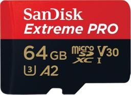 Karta SanDisk MicroSD Extreme Pro XC 64GB, 170MB/s, C10 UHS-I U3, V30, A2 + SD ADAP. + Rescue Pro Deluxe (SDSQXCY-064G-GN6MA)